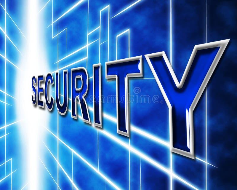 La seguridad de datos indica contraseña y la información restrictas ilustración del vector