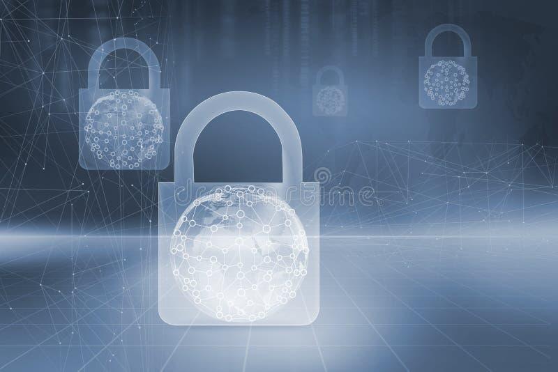 La seguridad firma alrededor de las líneas de la conexión alrededor del globo de la tierra stock de ilustración