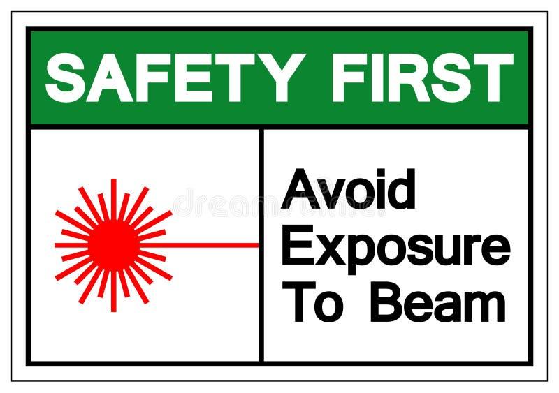 La seguridad primero evita la exposición para emitir la muestra del símbolo, ejemplo del vector, aislante en la etiqueta blanca libre illustration