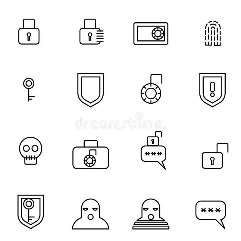 La seguridad y los iconos seguros del guardia fijaron el ejemplo del vector stock de ilustración