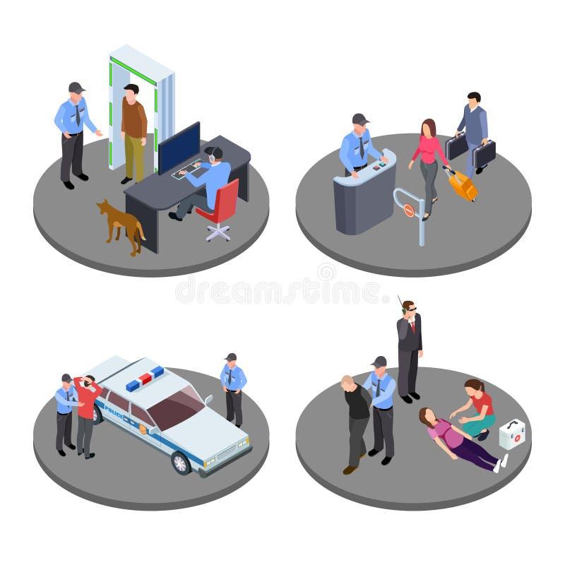 La seguridad y la policía trabajan situaciones isométricas del vector stock de ilustración