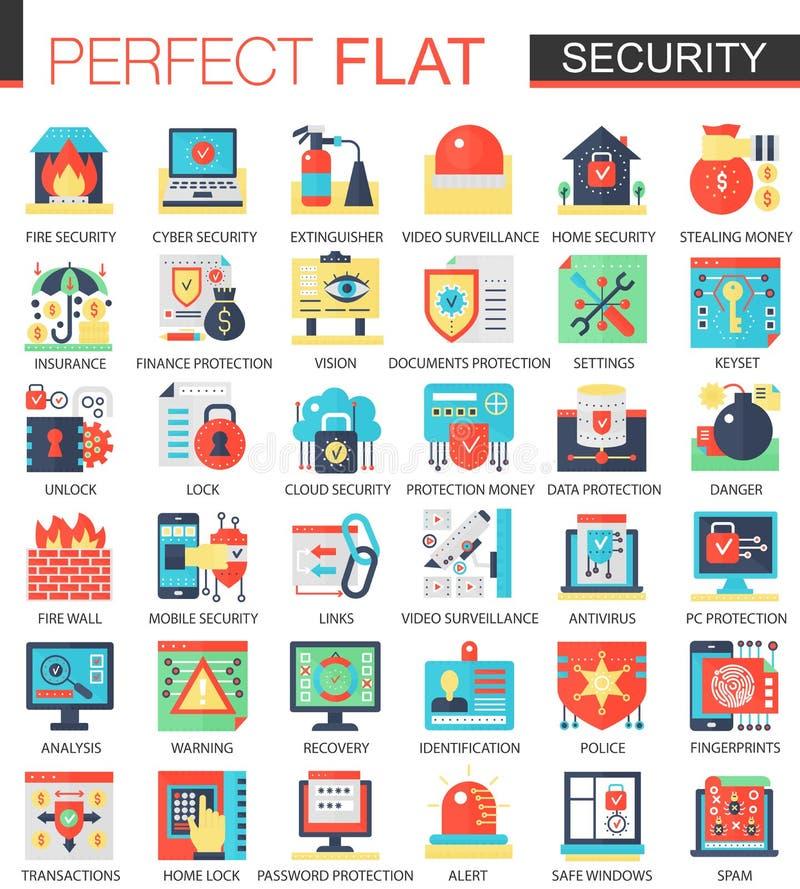 La seguridad y la tecnología cibernética de la seguridad vector los símbolos planos complejos del concepto del icono para el dise stock de ilustración