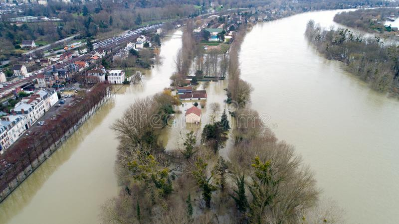 La Seine river flooding in Poissy city, January 30 2018. La Seine river flooding in Poissy, Yvelines, France stock photography