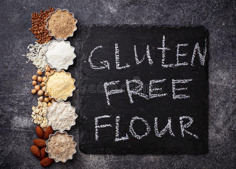 La selección de diverso gluten libera la harina fotografía de archivo libre de regalías