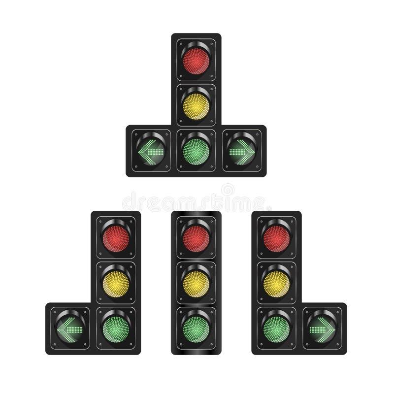 La selección de semáforos con la sección adicional en blanco aisló el fondo Ilustración del vector para su agua dulce de design stock de ilustración