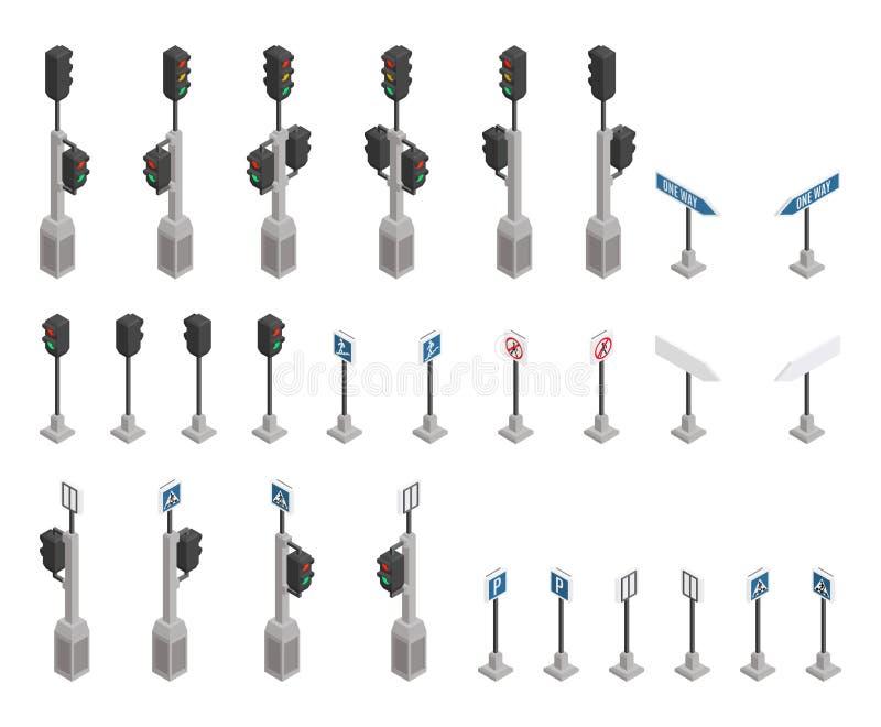 La selección las señales de tráfico semáforo isométrico ilustración del vector