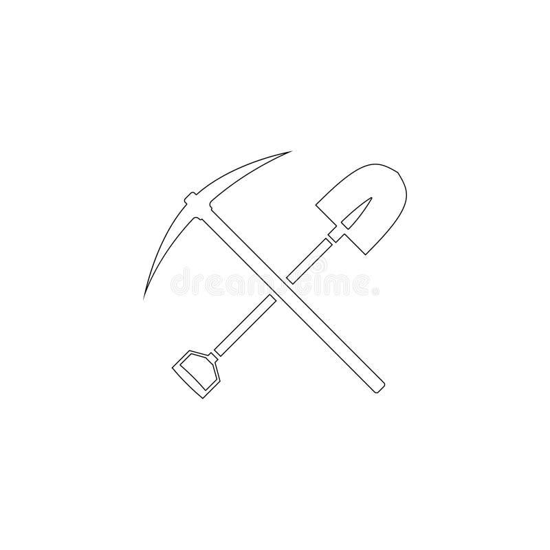 La selecci?n y la pala cruzaron Icono plano del vector stock de ilustración