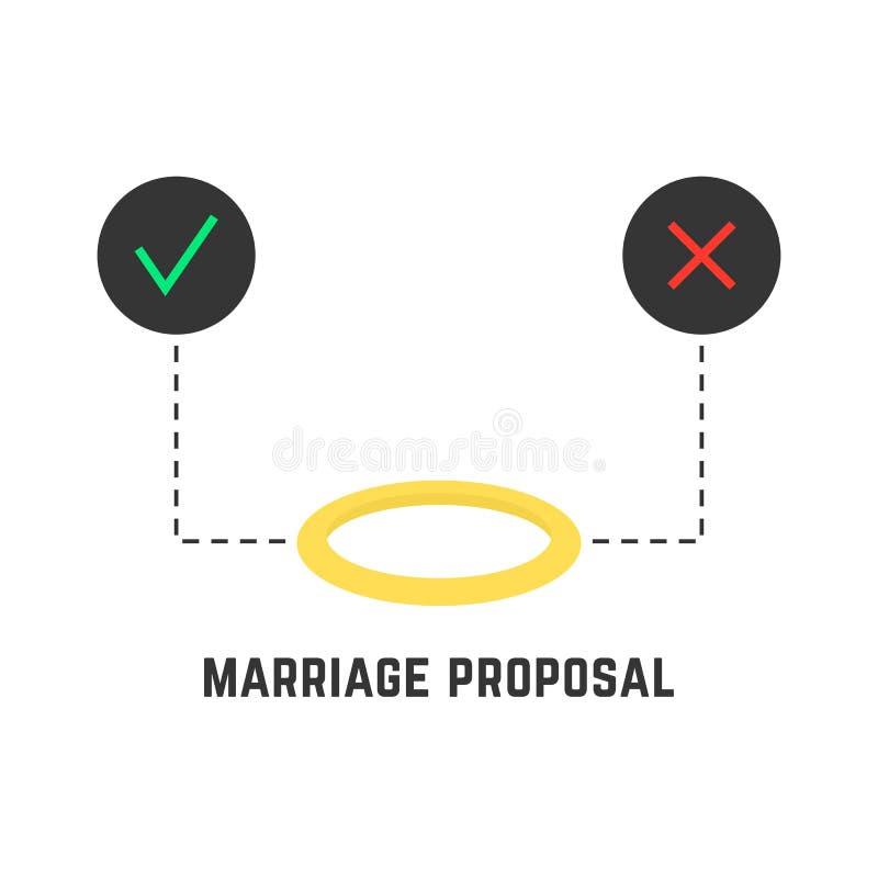 La selezione gradisce la proposta di matrimonio royalty illustrazione gratis