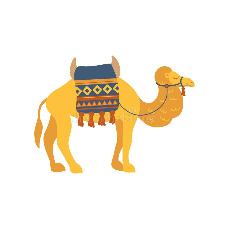 La selle de petit morceau de chameau et la couverture sur le dos, deux humped l'illustration animale de vecteur de bande dessinée illustration libre de droits