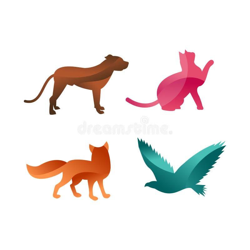 La selva de los animales salvajes acaricia la silueta del logotipo del carácter geométrico del extracto del polígono y del parque libre illustration