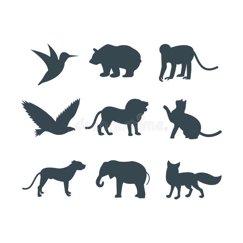 La selva de los animales salvajes acaricia la silueta del logotipo del carácter geométrico del extracto del polígono y del parque stock de ilustración