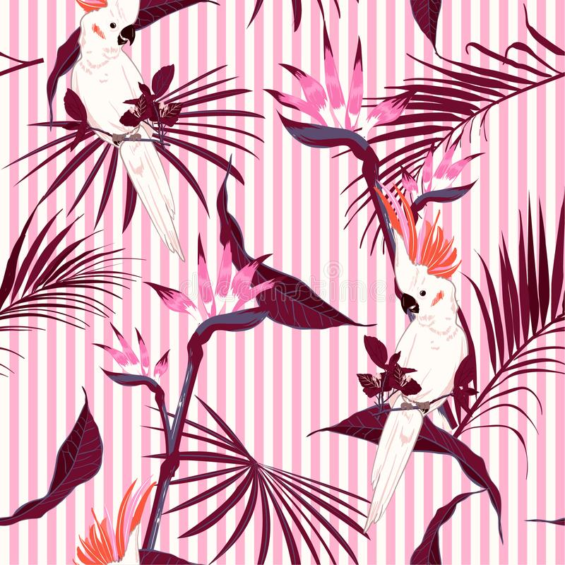 La selva tropical dulce se va con el patt saemless del pájaro blanco del macaw stock de ilustración
