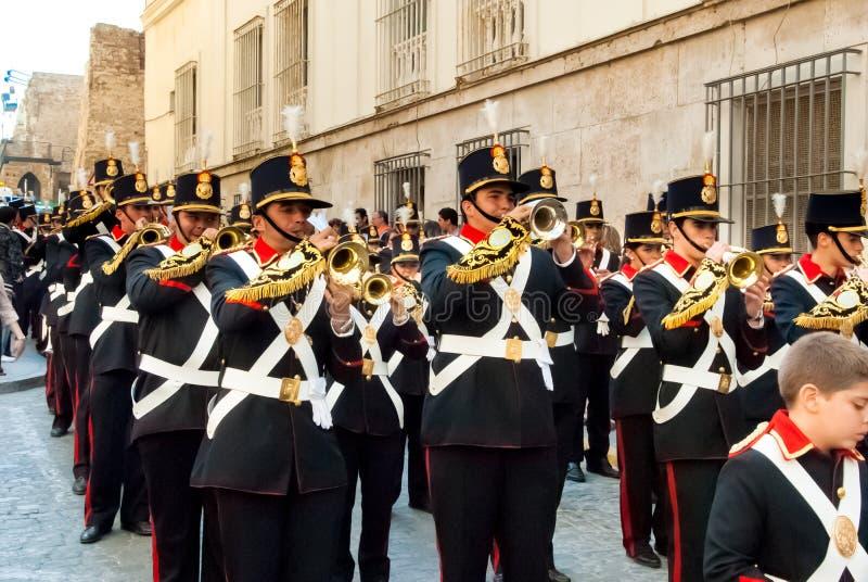 La Semana圣诞老人队伍在西班牙,安达卢西亚,卡迪士 免版税图库摄影