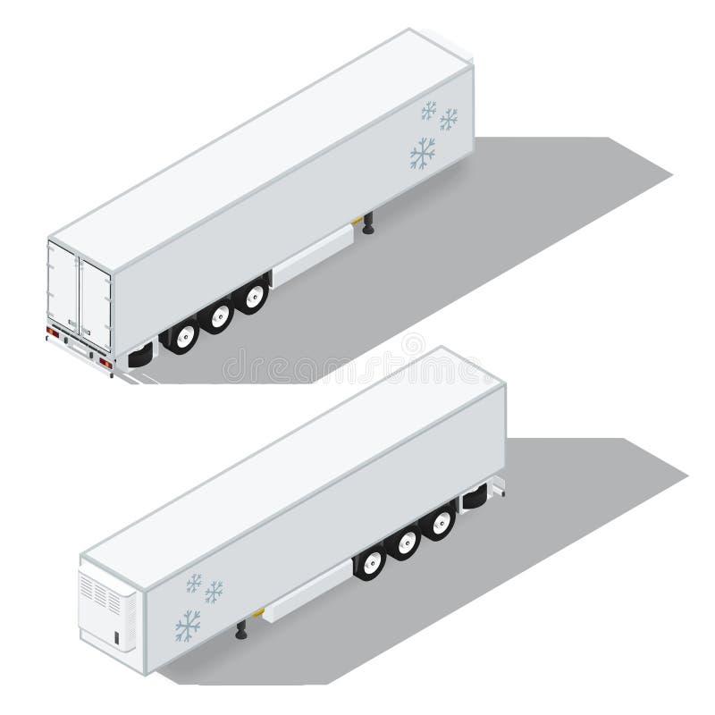 La semi-remorque avec une chambre de réfrigération a détaillé les icônes isométriques réglées illustration de vecteur