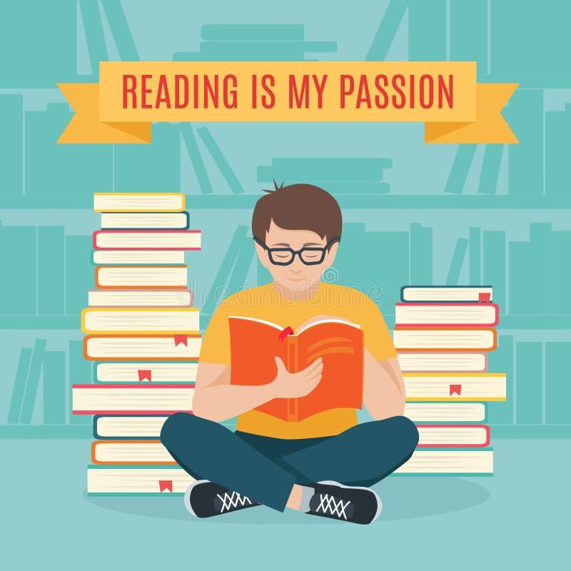 La sentada del hombre joven leyó su libro preferido stock de ilustración