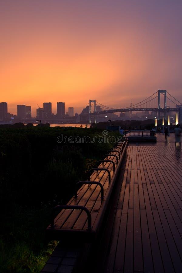 La sera tarda Odaiba, Tokyo immagini stock libere da diritti