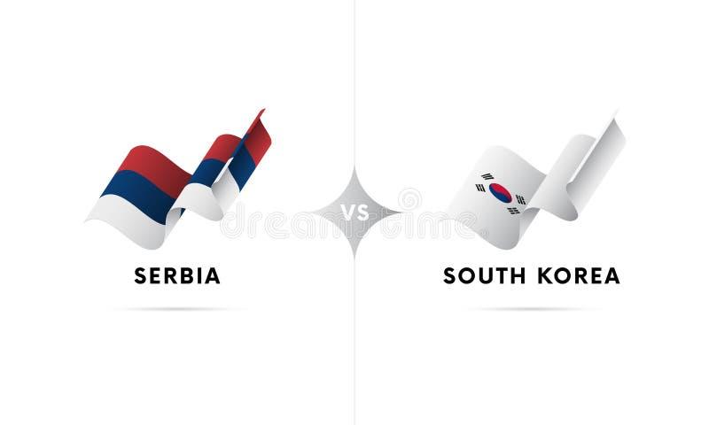 La Serbia contro la Corea del Sud Calcio Illustrazione di vettore illustrazione vettoriale