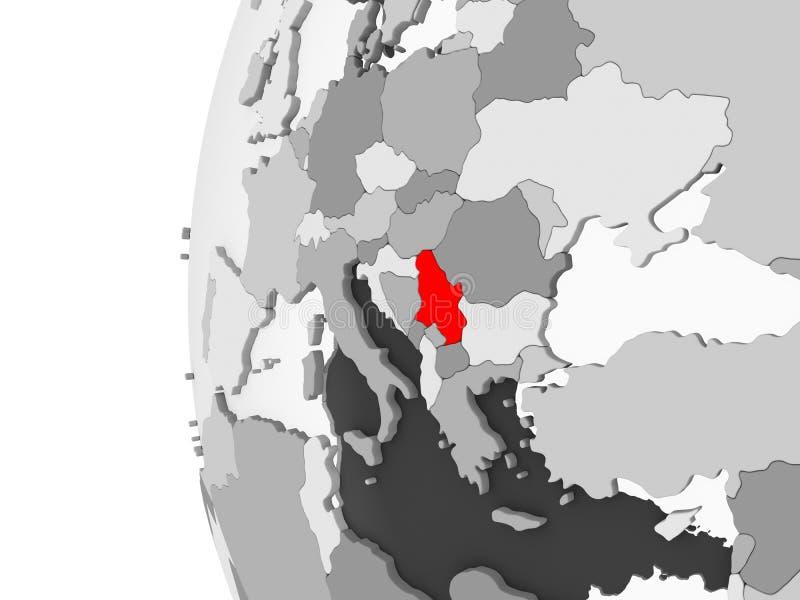 La Serbia sul globo grigio illustrazione vettoriale