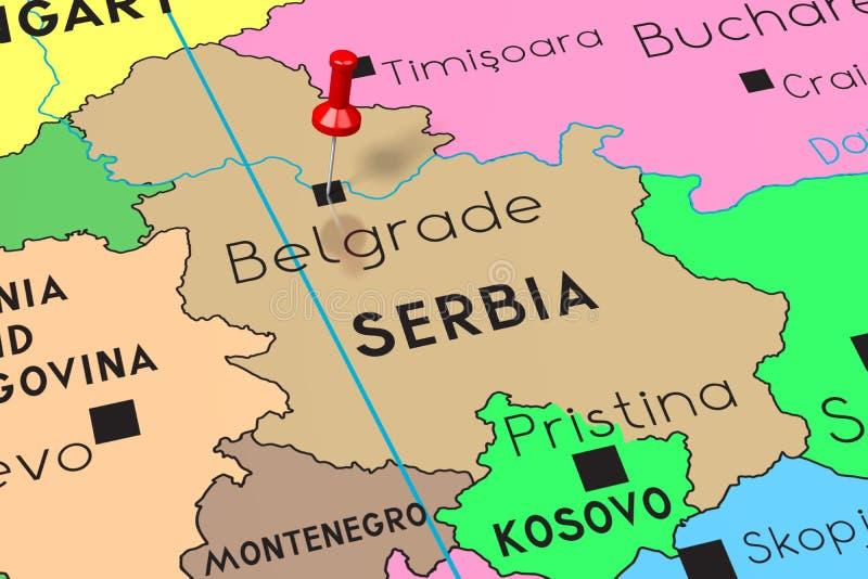 La Serbie, Belgrade - capitale, goupillée sur la carte politique illustration de vecteur