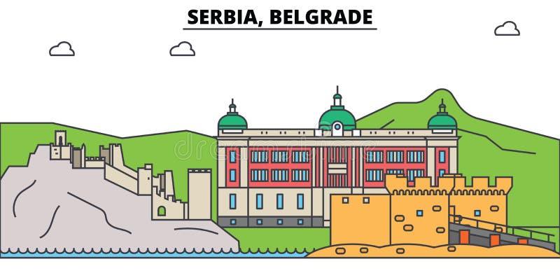 La Serbie, Belgrade Horizon de ville, architecture, bâtiments, rues, silhouette, paysage, panorama, points de repère editable illustration libre de droits