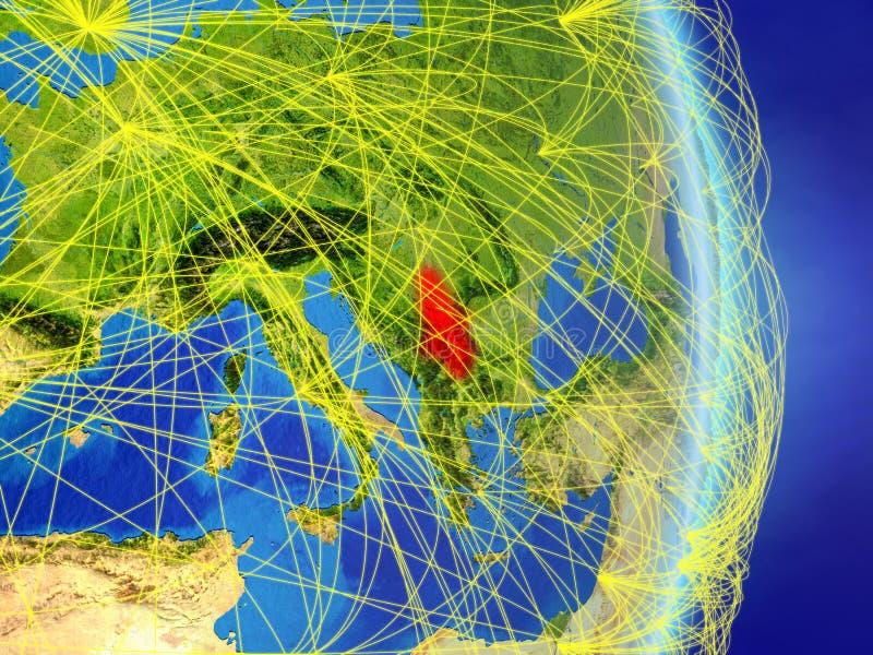 La Serbie sur terre de planète de planète avec le réseau Concept de connectivité, voyage et communication illustration 3D Élément illustration de vecteur