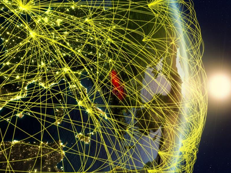 La Serbie sur la terre reliée au réseau de planète images libres de droits