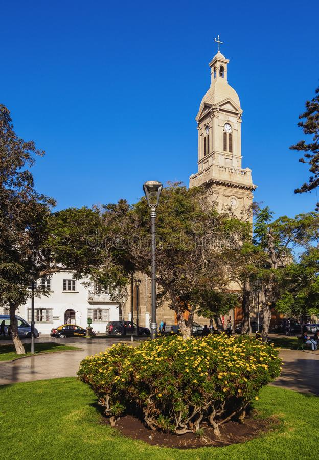 La Serena in Chile. Cathedral of Our Lady of Mercy, Plaza de Armas, La Serena, Coquimbo Region, Chile royalty free stock images