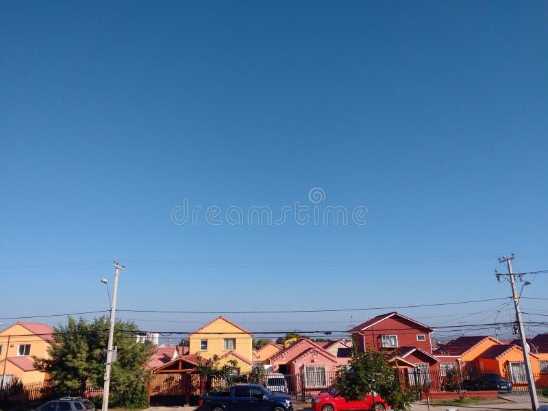 La Serena - Fede. Arcos. Blue sky over homes in La Serena, Chile stock photo
