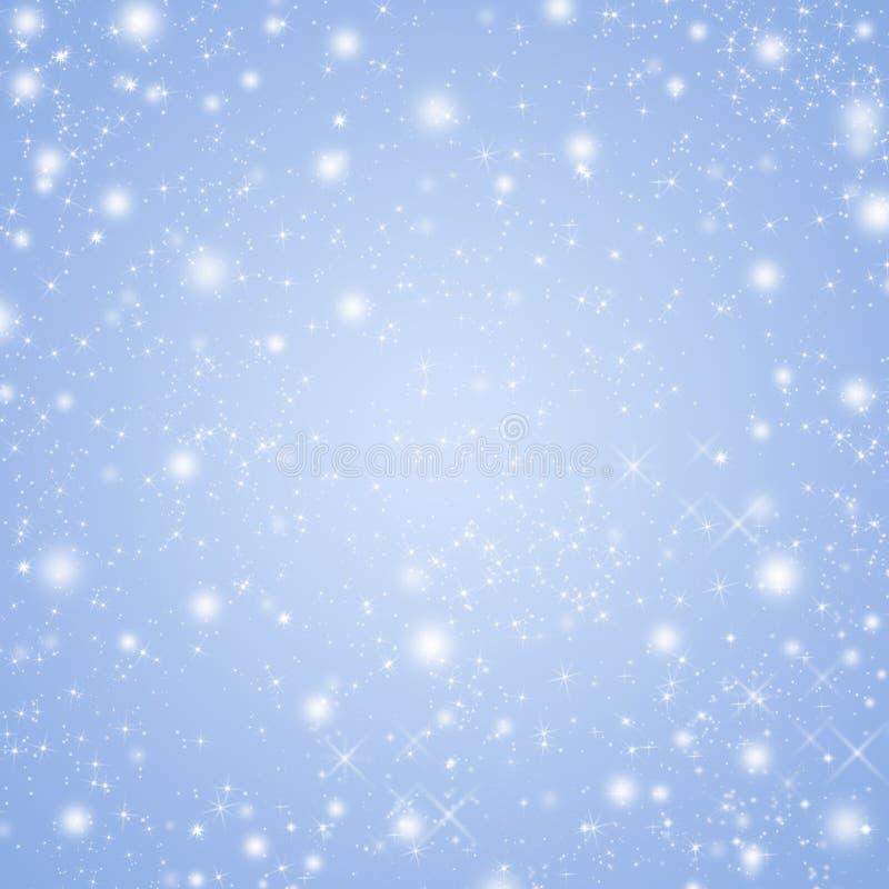 La serenidad coloreó el fondo de las vacaciones de invierno con las estrellas y los copos de nieve brillantes libre illustration