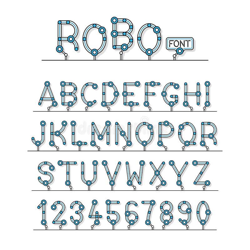 La serie completa di fonte tecnica del robot segna l'alfabeto con lettere illustrazione vettoriale