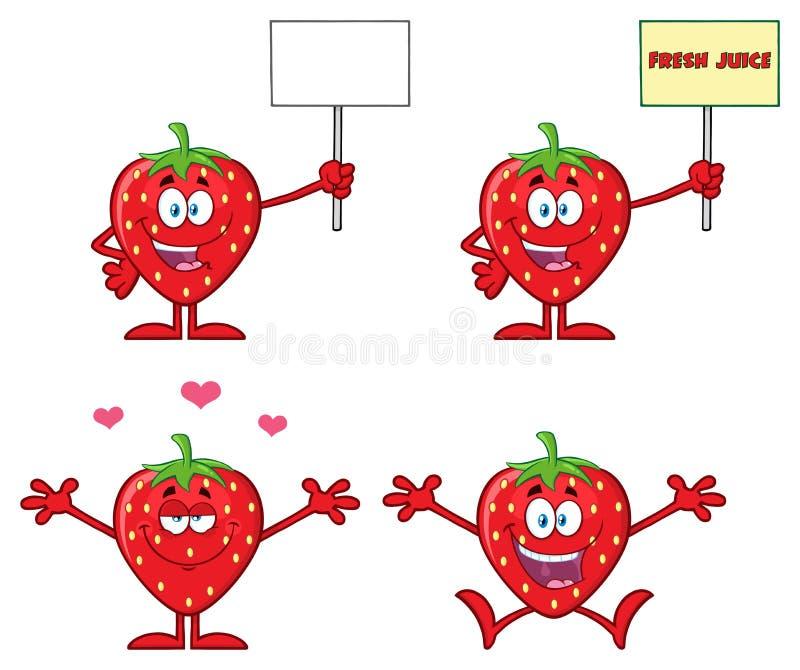 La serie del carácter de la mascota de la historieta de la fruta de la fresa fijó 5 colección imagen de archivo libre de regalías
