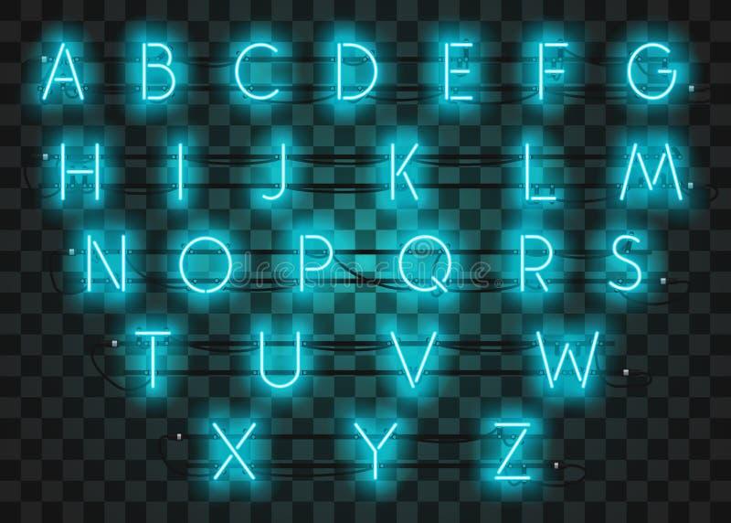 La serie di caratteri al neon del turchese ha messo su fondo porpora, illustrazione di vettore illustrazione di stock