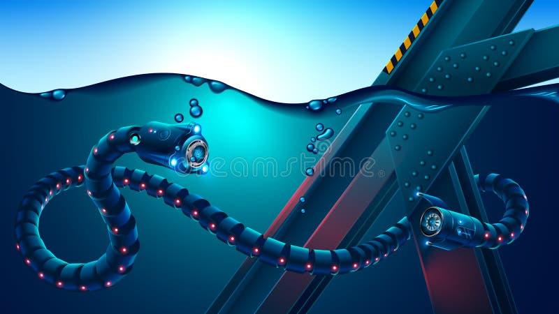 La serpiente subacuática autónoma del robot examina construcciones metálicas subacuáticas El mecanismo Biomorphic explora el océa libre illustration