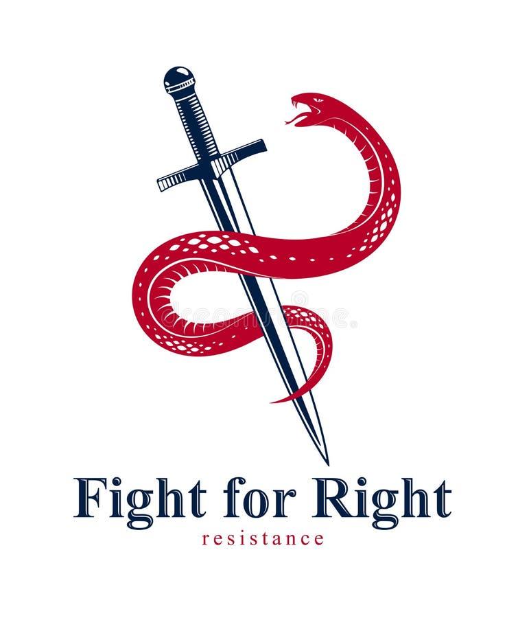 La serpiente y la daga, abrigos de la serpiente alrededor de un tatuaje del vintage del vector de la espada, vida es un concepto  stock de ilustración