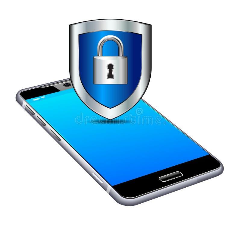 La serratura del telefono sblocca la cellula sicura, Smart, il cellulare, cellulare royalty illustrazione gratis