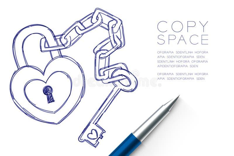 La serrure de coeur et la chaîne principale aiment le dessin de main de symbole de couples par couleur bleue de croquis de stylo, illustration de vecteur
