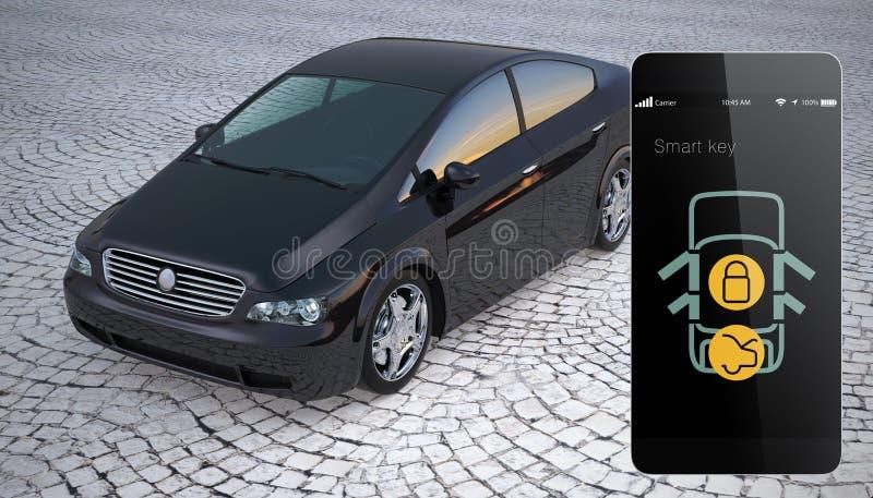 La serrure de portière de voiture et ouvrent par le téléphone intelligent illustration de vecteur