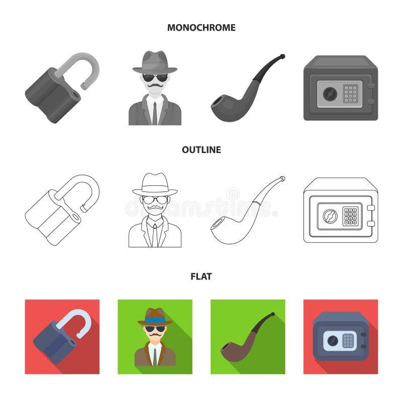 La serrure a entaillé, coffre-fort, tuyau de tabagisme, détective privé Icônes réglées de collection de détective dans l'appartem illustration libre de droits