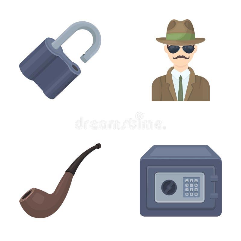 La serrure a entaillé, coffre-fort, tuyau de tabagisme, détective privé Les icônes réglées de collection de détective dans le sty illustration de vecteur