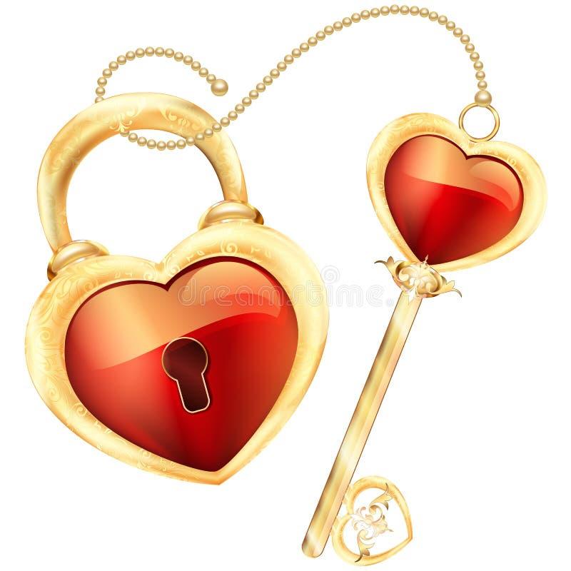 La serrure et la clé au coeur rouge forment dans le cadre d'or et l'illustration d'ornement illustration de vecteur
