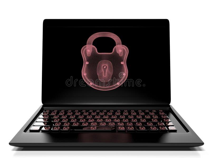 La serrure virtuelle au clavier numérique, le concept 3d de protection des données rendent illustration libre de droits