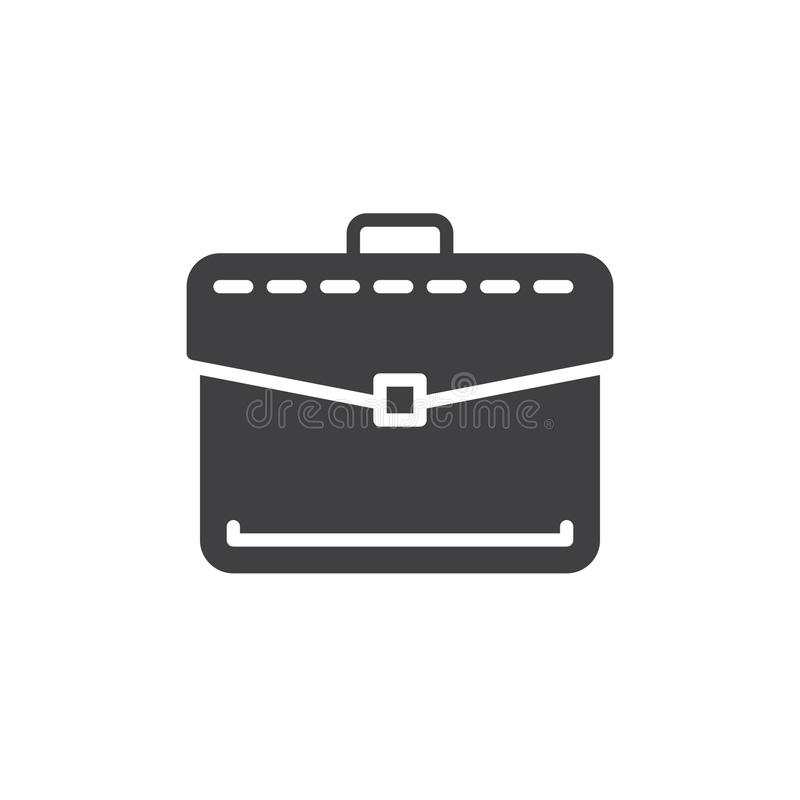 La serviette, vecteur d'icône de portfolio d'affaires, a rempli signe plat, pictogramme solide d'isolement sur le blanc Symbole,  illustration stock