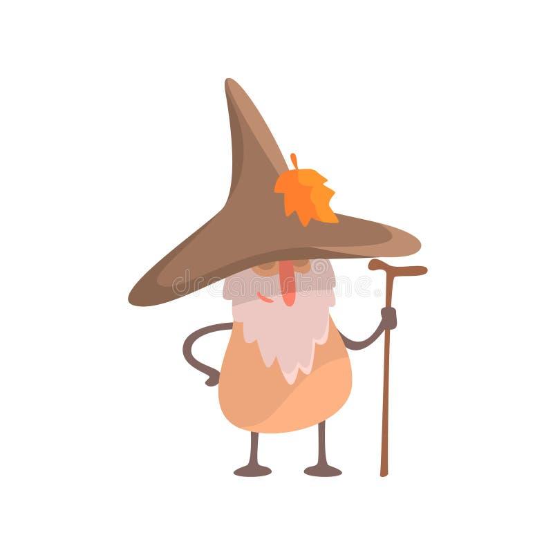 La seta Desguised como hombre sabio de Beardy, parte de verduras en fantasía disfraza la serie de caracteres tontos de la histori stock de ilustración