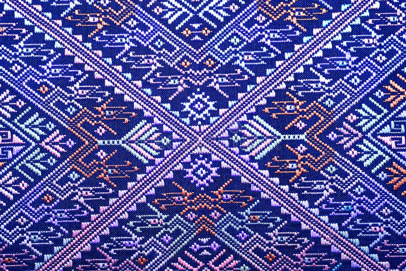 La seta tailandese variopinta handcraft la vecchia conservazione lacerata d'annata di stile della superficie peruviana della cope fotografia stock libera da diritti