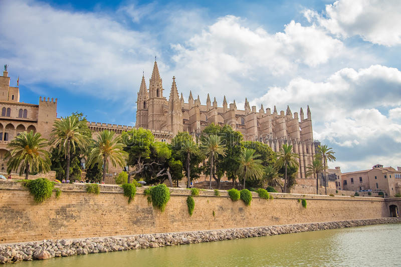 La Seu - The Cathedral of Santa Maria of Palma. Photograph of one of the oldest ghotic cathedrals in Europe- La Seu, The Cathedral of Santa Maria of Palma, Palma royalty free stock image