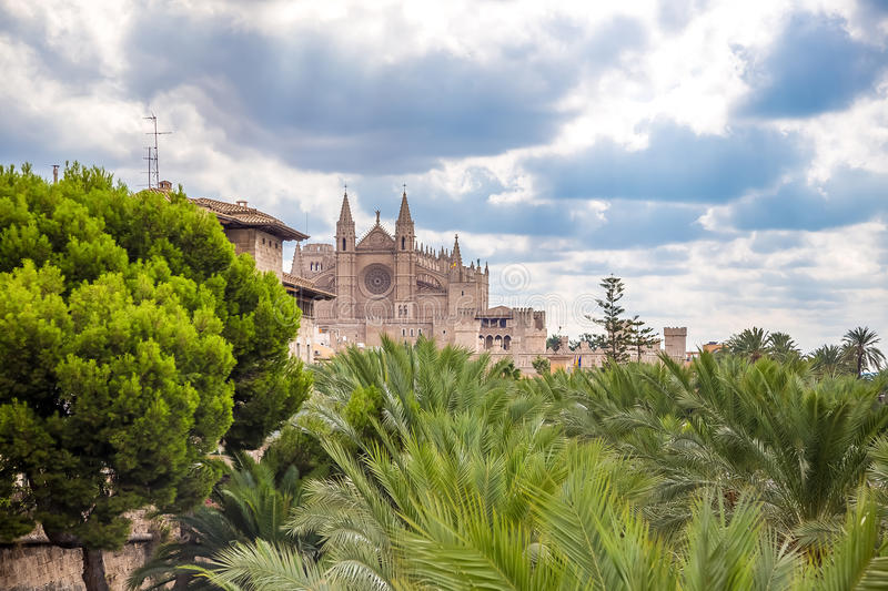 La Seu - The Cathedral of Santa Maria of Palma. Photograph of one of the oldest ghotic cathedrals in Europe- La Seu, The Cathedral of Santa Maria of Palma, Palma stock image