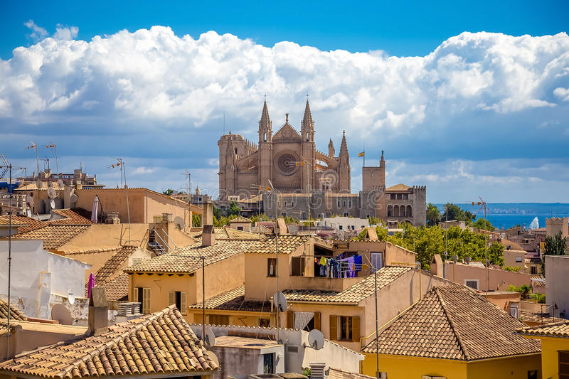 La Seu - The Cathedral of Santa Maria of Palma. Photograph of one of the oldest ghotic cathedrals in Europe- La Seu, The Cathedral of Santa Maria of Palma, Palma stock images