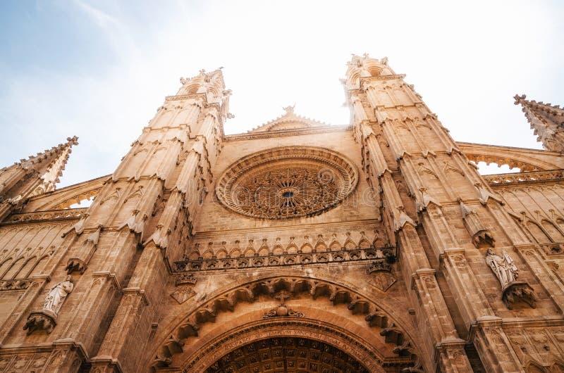 La Seu, de gotische middeleeuwse kathedraal van Palma de Mallorca, Spanje stock foto
