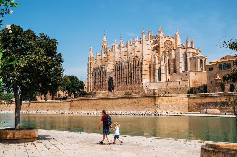 La Seu, den gotiska medeltida domkyrkan av Palma de Mallorca, Spanien arkivfoton