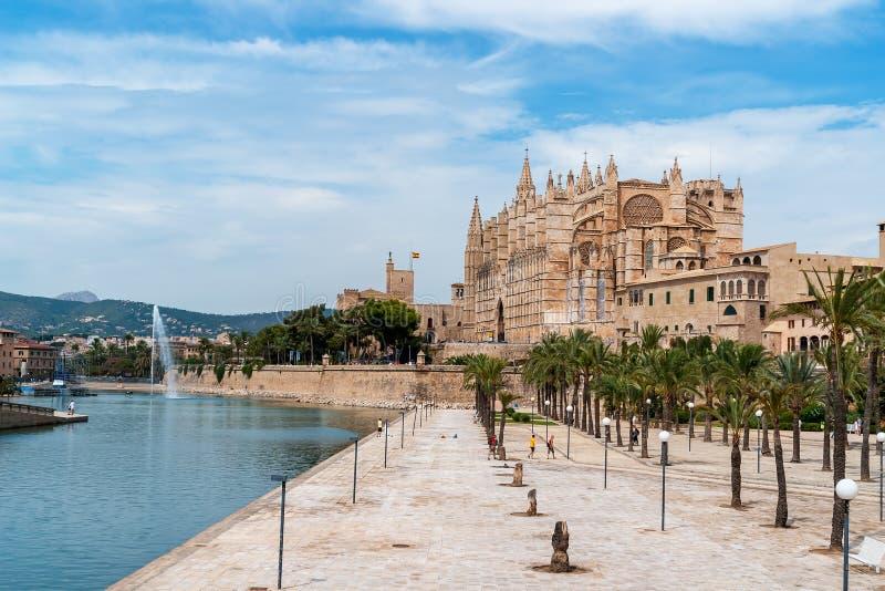 La Seu, domkyrkan av Palma de Mallorca - Balearic Island, Spanien arkivfoton